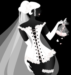 black-white bride vector image
