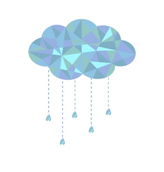 Blue cloud with hanging drops Polygonal effect vector image vector image