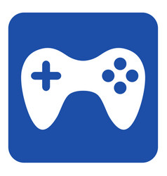 Blue white information sign - gamepad icon vector