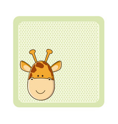 Colorful greeting card with picture giraffe animal vector