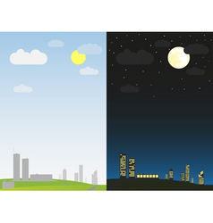 day and night in the city vector image vector image