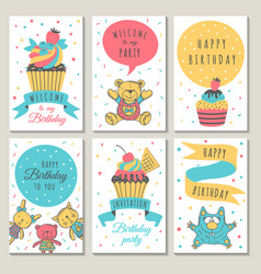 Design of celebration cards kids invitation for vector