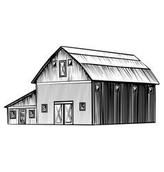 Farm barn isolated on white background hand drawn vector