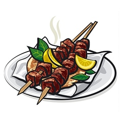 greek meat kebabs vector image vector image