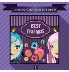 Greeting card for a best friend vector image vector image
