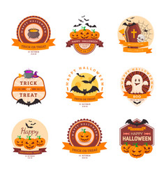 halloween party badge design vector image