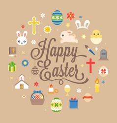 Happy easter hand lettering font with icon vector