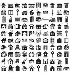 Home icons on white vector image vector image