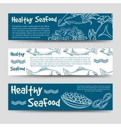 Horizontal banners with healthy seafood vector