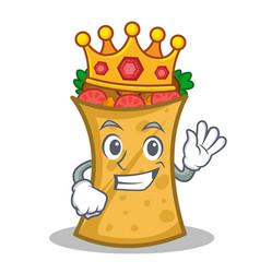 King kebab wrap character cartoon vector
