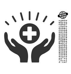 Medical prosperity icon with people bonus vector