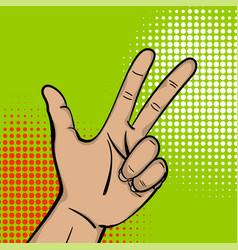 Pop art strong man hand show three finger vector