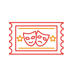 Postal seal with theater masks isolated icon vector