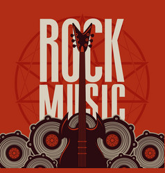 rock music banner with guitar and audio speakers vector image vector image