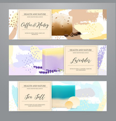 Soap packaging realistic banners set vector