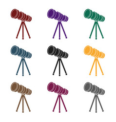 Telescope icon in black style isolated on whit vector