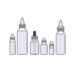 Vaping set vape juices outline on white vector