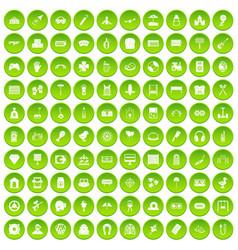 100 entertainment icons set green circle vector