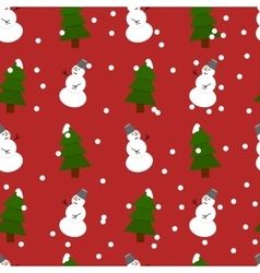 Seamless snowman and fir-trees pattern vector