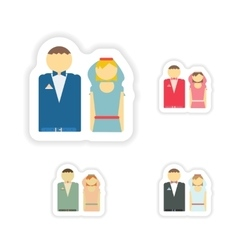 Stylish concept paper sticker bride and groom vector