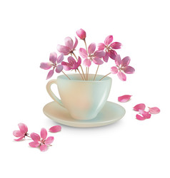 cup with spring flowers vector image