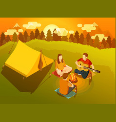 Friends singing around campfire isometric vector