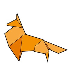 Red paper origami fox vector