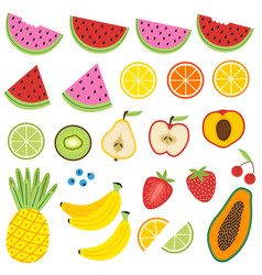 Set of isolated fruits vector
