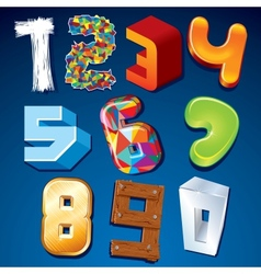 Numeral in Various Styles Design Elements vector image