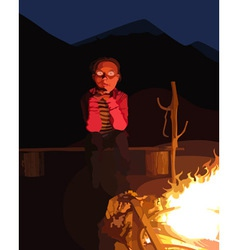 Cartoon man sitting by the campfire at night vector