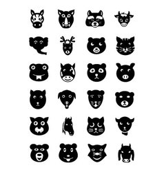 Animal faces icons 2 vector