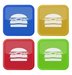 Set of four square icons with hamburger vector