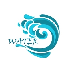 Blue ocean wave with water swirls vector