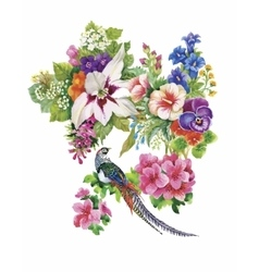 Garden flowers and pheasant birds watercolor vector image