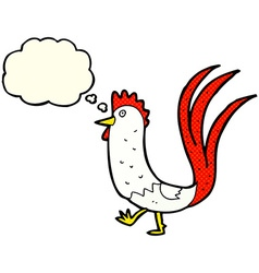Cartoon cockerel with thought bubble vector