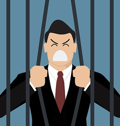 Businessman try to escape from prison vector