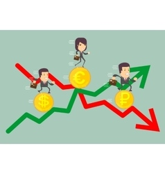 Business people with profit and loss arrow vector