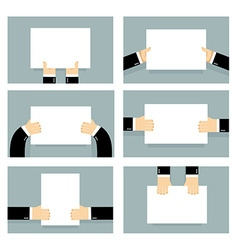 Hand and clean sheet blank billboard set business vector