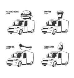 Ice cream hamburger hot dog coffee trucks vector