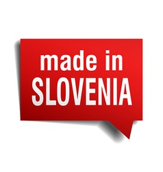 Made in slovenia red 3d realistic speech bubble vector