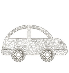 Baby toy car coloring book for adults vector