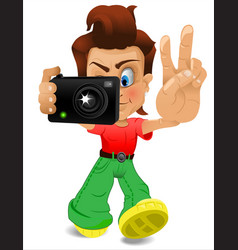 cartoon bor with a camera eps 10 vector image vector image