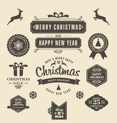 Christmas logos and medals in a retro style for vector