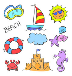 Collection stock element summer doodles vector