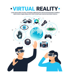 Colored virtual reality poster vector