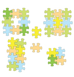 Colorful puzzles as infographic - set of elements vector