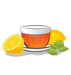Cup of tea with lemon and mint leafs vector