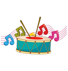 Drum and music notes in background vector