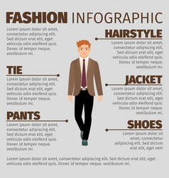 Fashion infographic with happy schoolboy vector