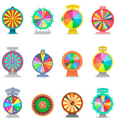fortune wheel spin game icons casino vector image